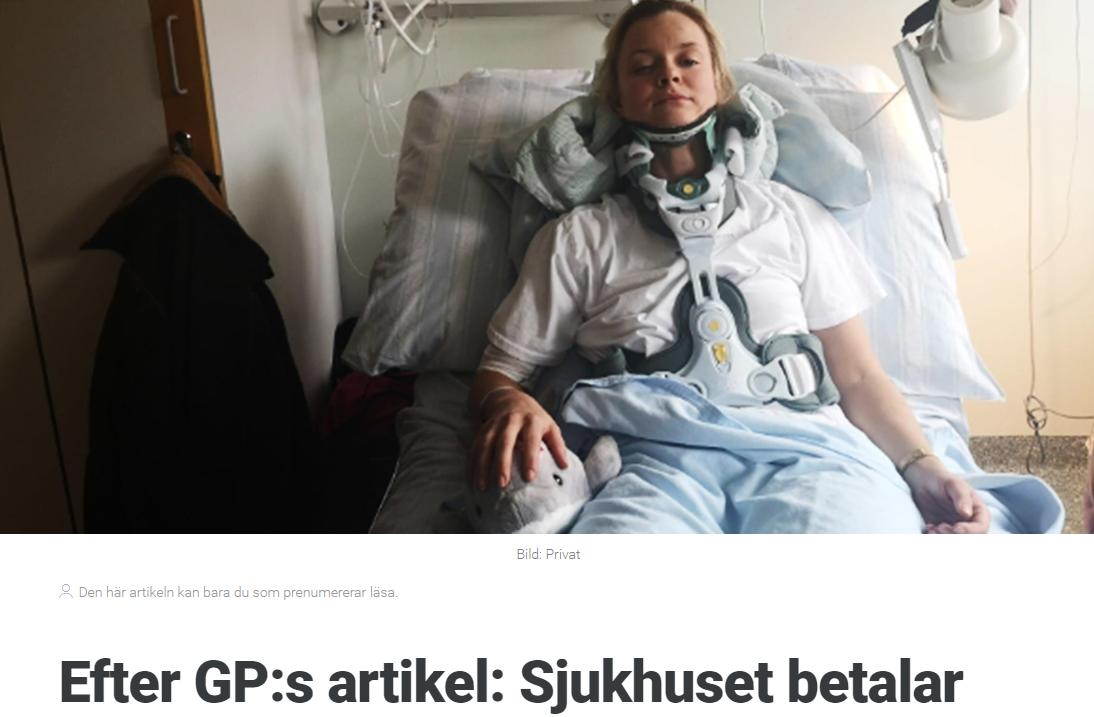 2018-10-29 Efter GP:s artikel: Sjukhuset betalar