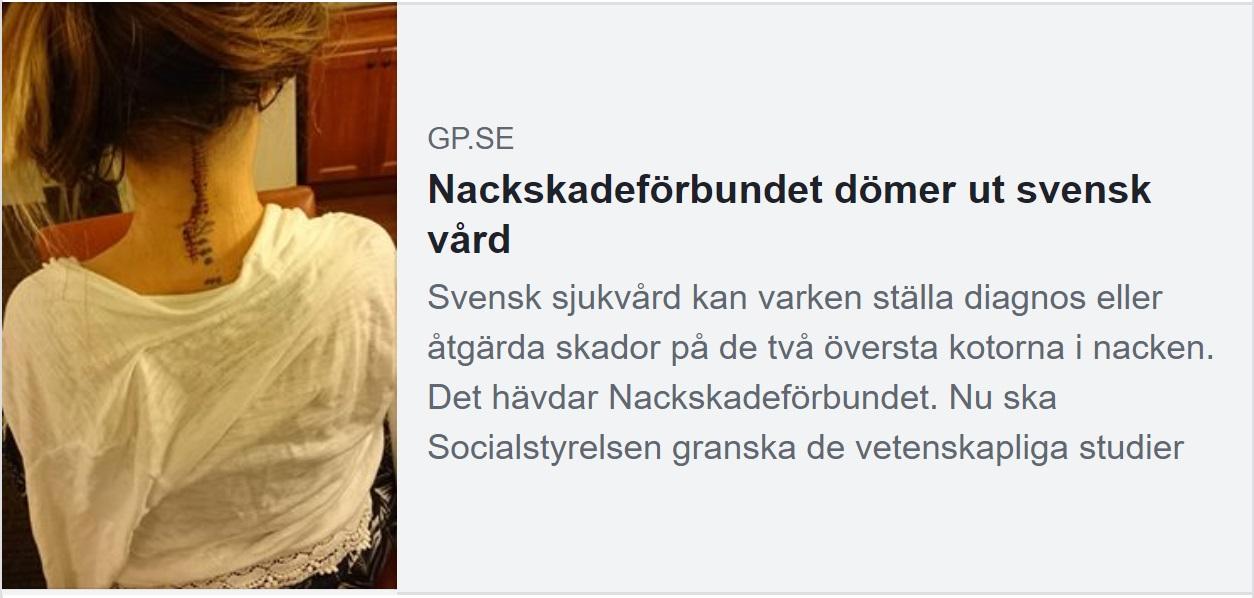 Nackskadeförbundet dömer ut svenska vård