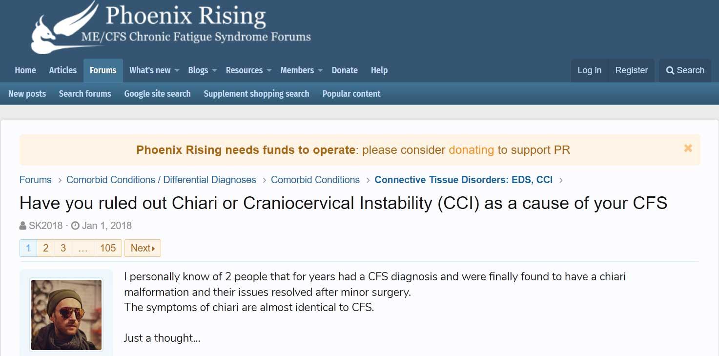 Har du uteslutit Chiari eller Craniocervical Instability (CCI) som en orsak till din CFS